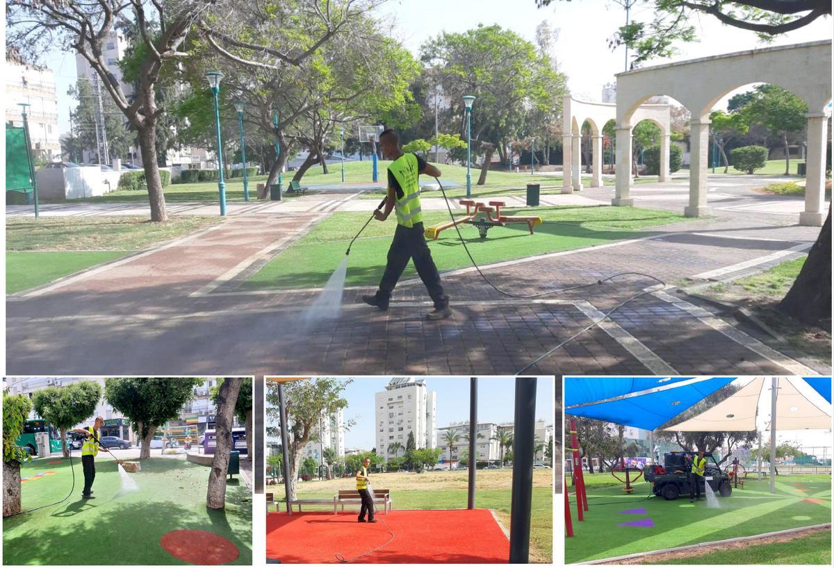 מבצע ניקיון וחיטוי לפארקים וגני משחקים בעיר (1)