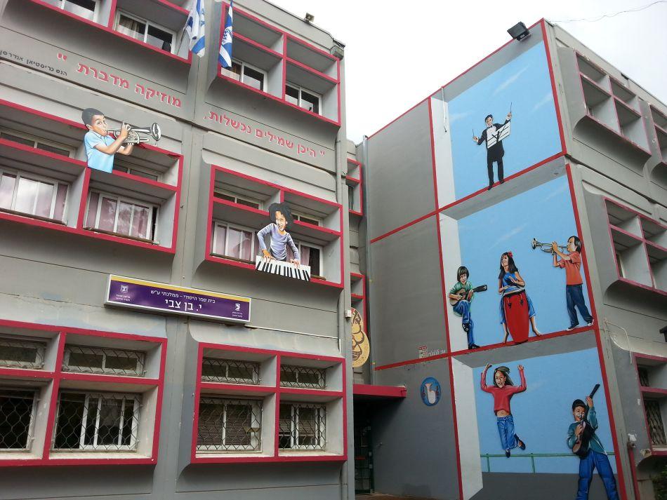חזית בית הספר בן צבי בחולון