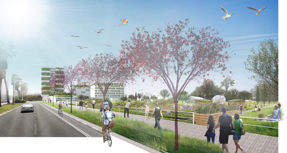 מרחב חקלאי עירוני – רחוב המלאכה בעתיד_ – הדמיה גלעד-שיף אדריכלות