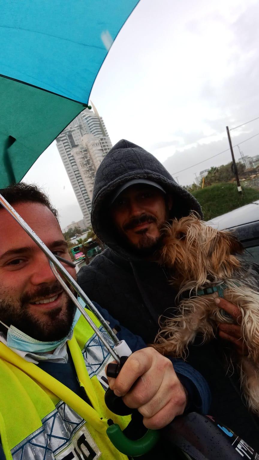 כלב גשם חילוץ צילום ידידים סיוע בדרכים
