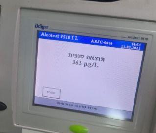 בדיקת ינשוף שיכרות שיכור אלכוהול צילום דוברות משטרת ישראל