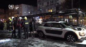 אוטובוס שרוף צילום דוברות משטרת ישראל