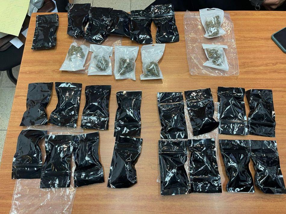 הסמים שנתפסו אצל הנהג- צילום דוברות משטרת ישראל